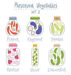 Preserved vegetables in jars set 2 vector image