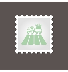 Tractor field stamp outline vector