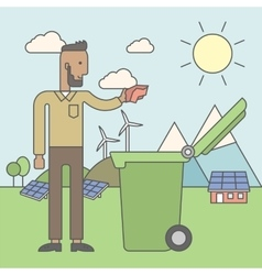 Man with recycle bin vector