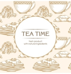 Pastries and tea vector