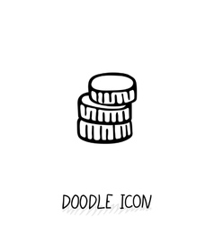 Doodle gold and silver coins icon vector
