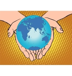 Planet earth in hands eurasia africa australia vector