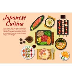 Seafood and meat dishes of japanese cuisine icon vector