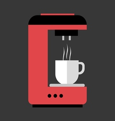 A red and black coffee machine pouring hot coffee vector