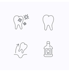 Tooth mouthwash and healthy teeth icons vector