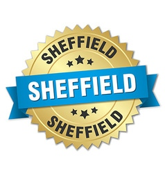 Sheffield round golden badge with blue ribbon vector