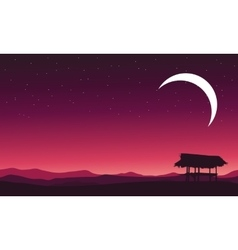 At night hut landscape and moon vector