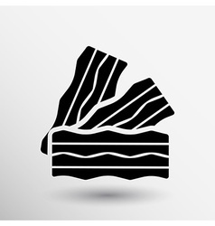 Bacon logo pieces of fresh ham isolated vector