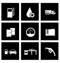 black gas station icon set vector image