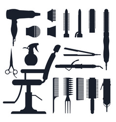 black silhouette set of hairdresser objects vector image