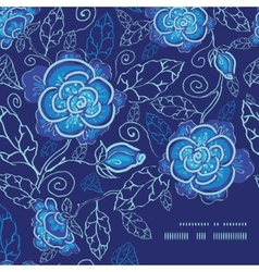 Blue night flowers frame corner pattern background vector