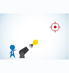 businessman shoot light bulb from cannon vector image