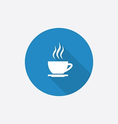 cap of tea Flat Blue Simple Icon with long shadow vector image vector image