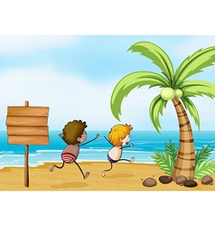Children having fun at the beach vector