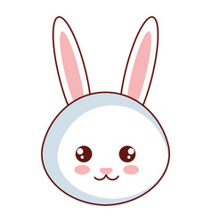 Cute and tender rabbit head character vector