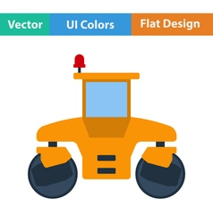 Flat design icon of road roller vector image