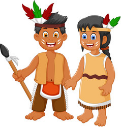 Funny couple indian tribal cartoon vector