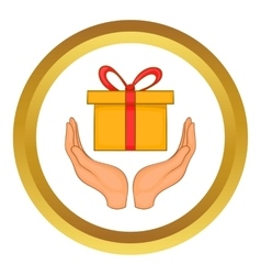 Gift box in hands icon vector image