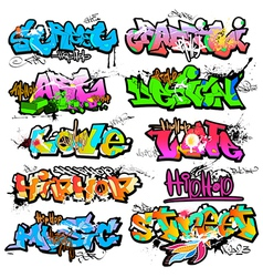 Graffiti wall urban art vector image vector image
