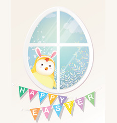 Happy easter chick is looking through the window vector