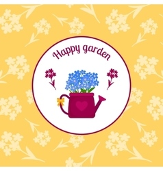 Happy garden circle sticker design vector