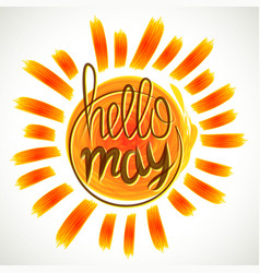 Hello spring lettering grange yellow colored vector