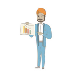 Hindu businessman showing financial chart vector