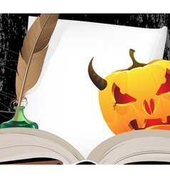 Horned jack o lantern and open ancient book vector