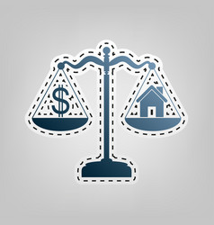 House and dollar symbol on scales blue vector
