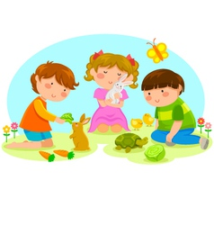 kids and animals vector image vector image