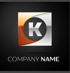 letter k logo symbol in the colorful square on vector image