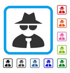 Mafia boss framed icon vector
