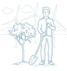 Man plants tree sketch vector