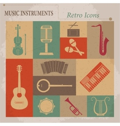 Musical equipment retro icons vector