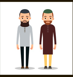 muslim man or arab man cartoon character stand in vector image
