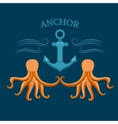 Octopus and anchor vector