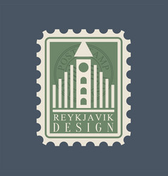 postmark with famous landmark of reykjavik - vector image