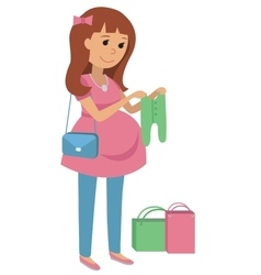 Pregnant young woman chooses clothes for your baby vector