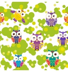 Seamless pattern - bright colorful owls and green vector
