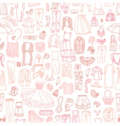 seamless pattern of different womens clothes and a vector image vector image