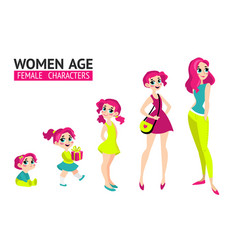 set of characters in cartoon flat style vector image