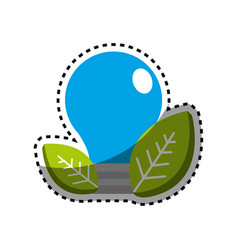 Sticker save bulb with leaves icon vector