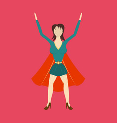 super hero woman flat poster in comic style vector image vector image