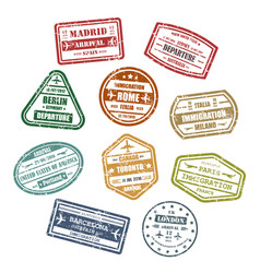 Travel or journey visa or passport signs vector