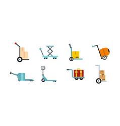 wharehouse cart icon set flat style vector image