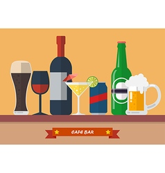 Set of drink bar flat icon vector