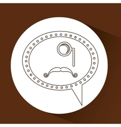 symbol hipster monocle and long mustache vector image