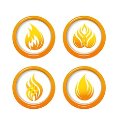 Fire web buttons set vector