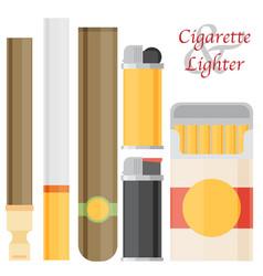 Cigarette and lighter set vector