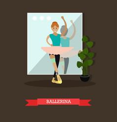 Dancing ballerina in flat vector